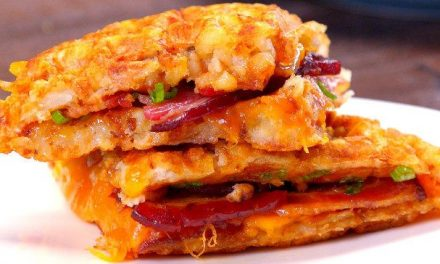 Tater Tot Grilled Cheese & Bacon Waffle Sandwich